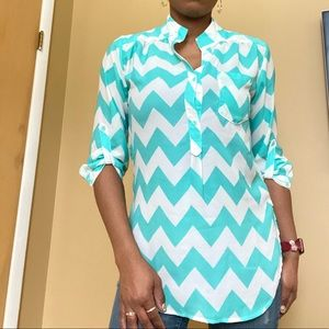 Turquoise and white 3/4 length blouse